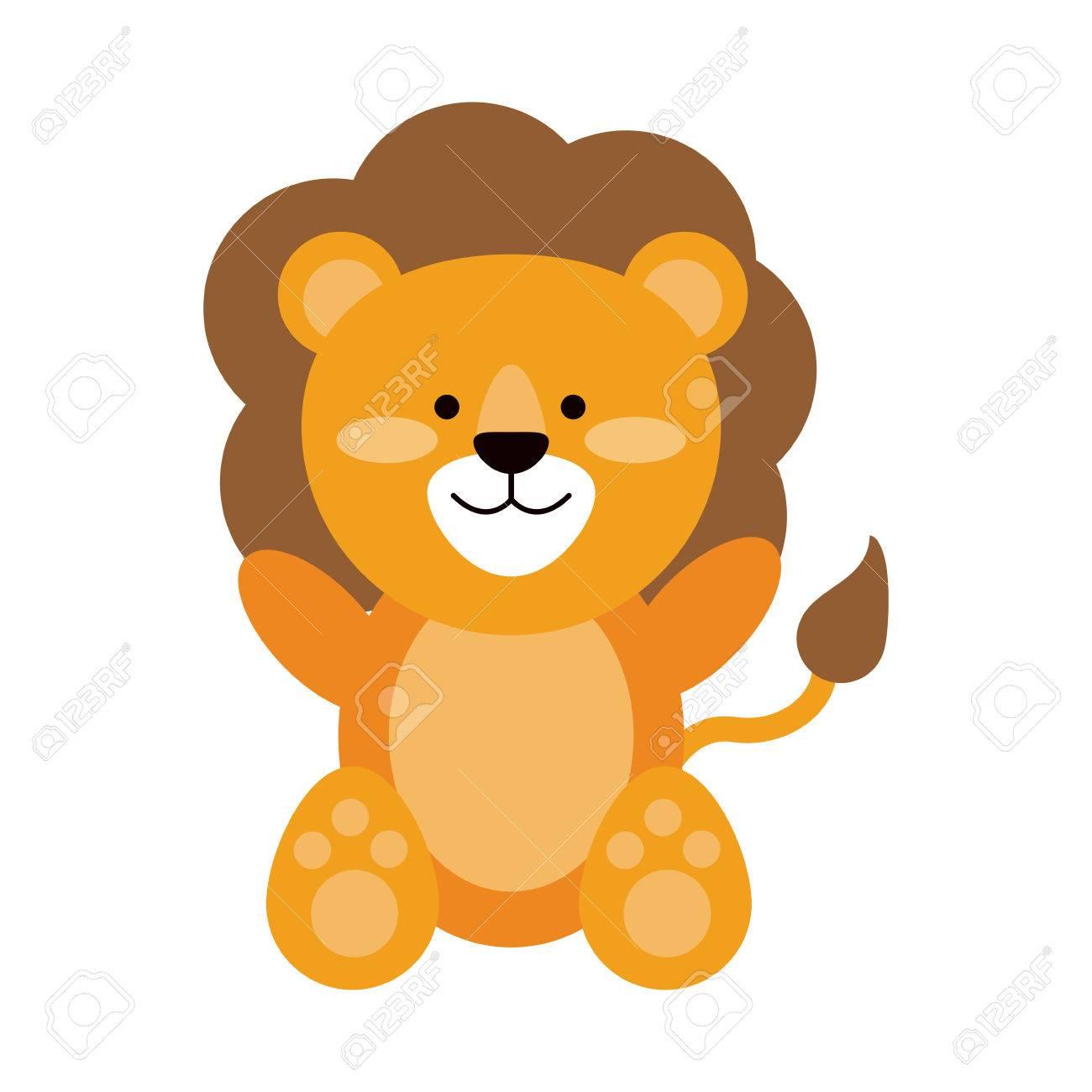 ライオンやぬいぐるみかわいい動物アイコン画像ベクトル イラスト デザイン
