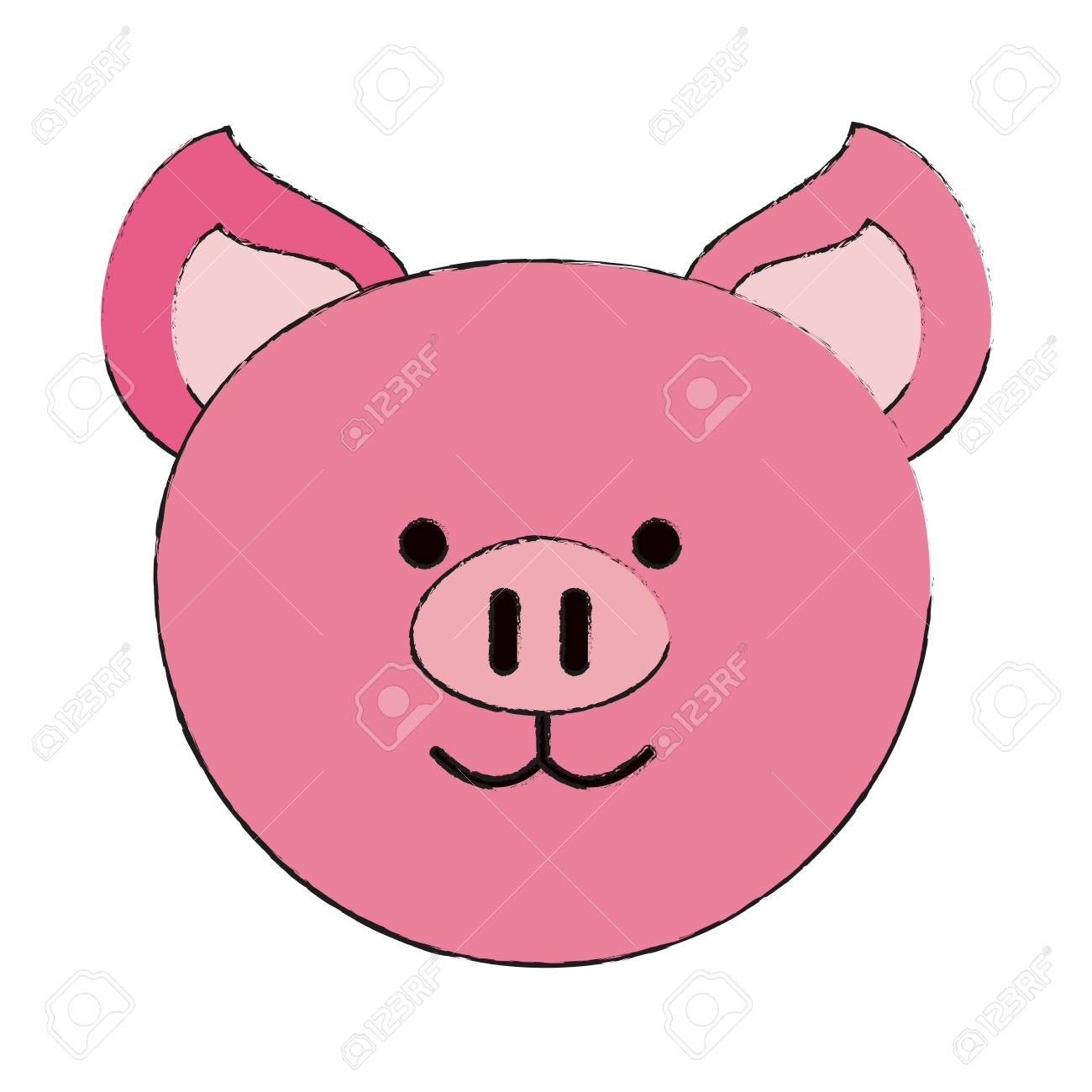 Pig Or Cute Stuffed Animal Icon Image Vector Illustration Design
