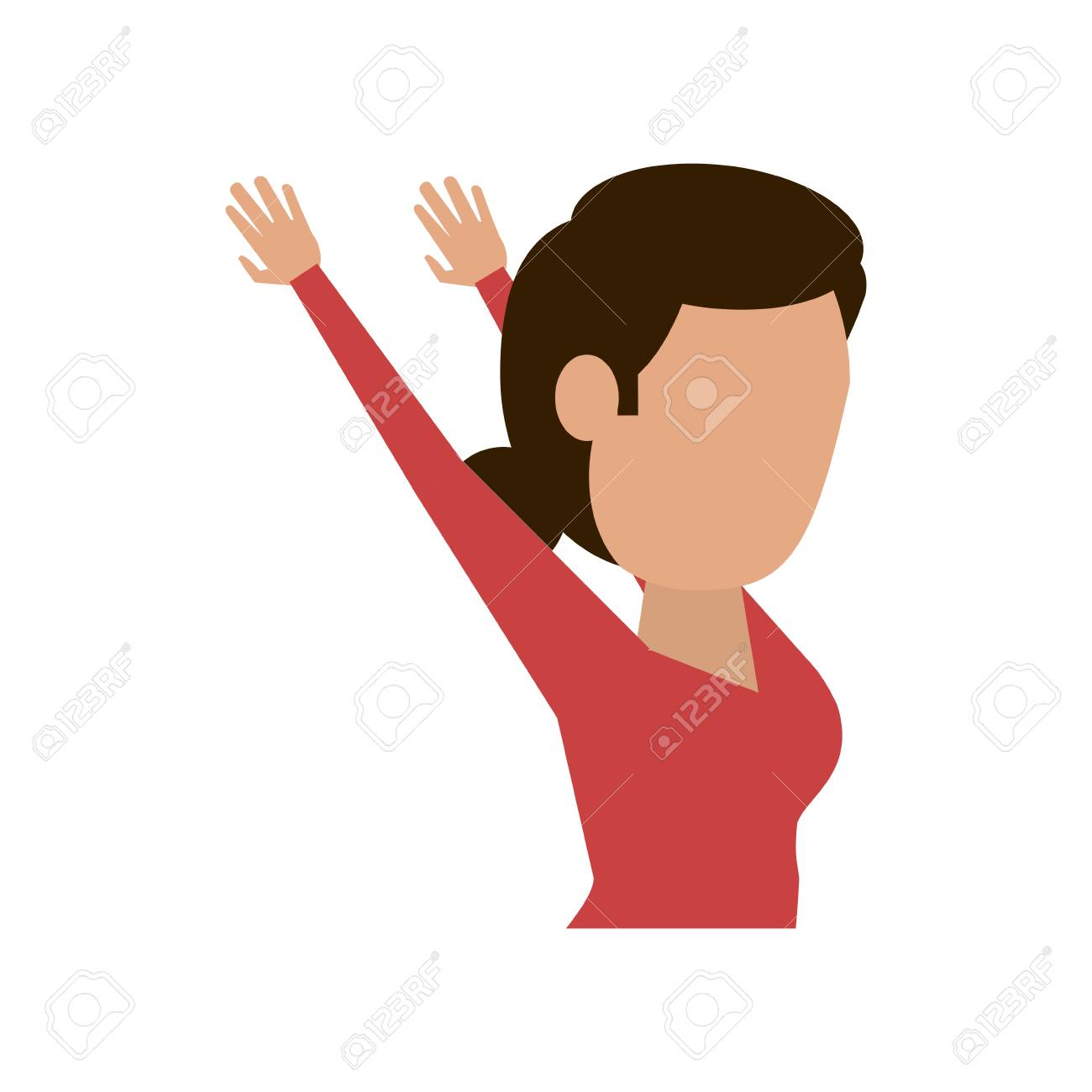 woman stretching arms fitness avatar icon image vector illustration