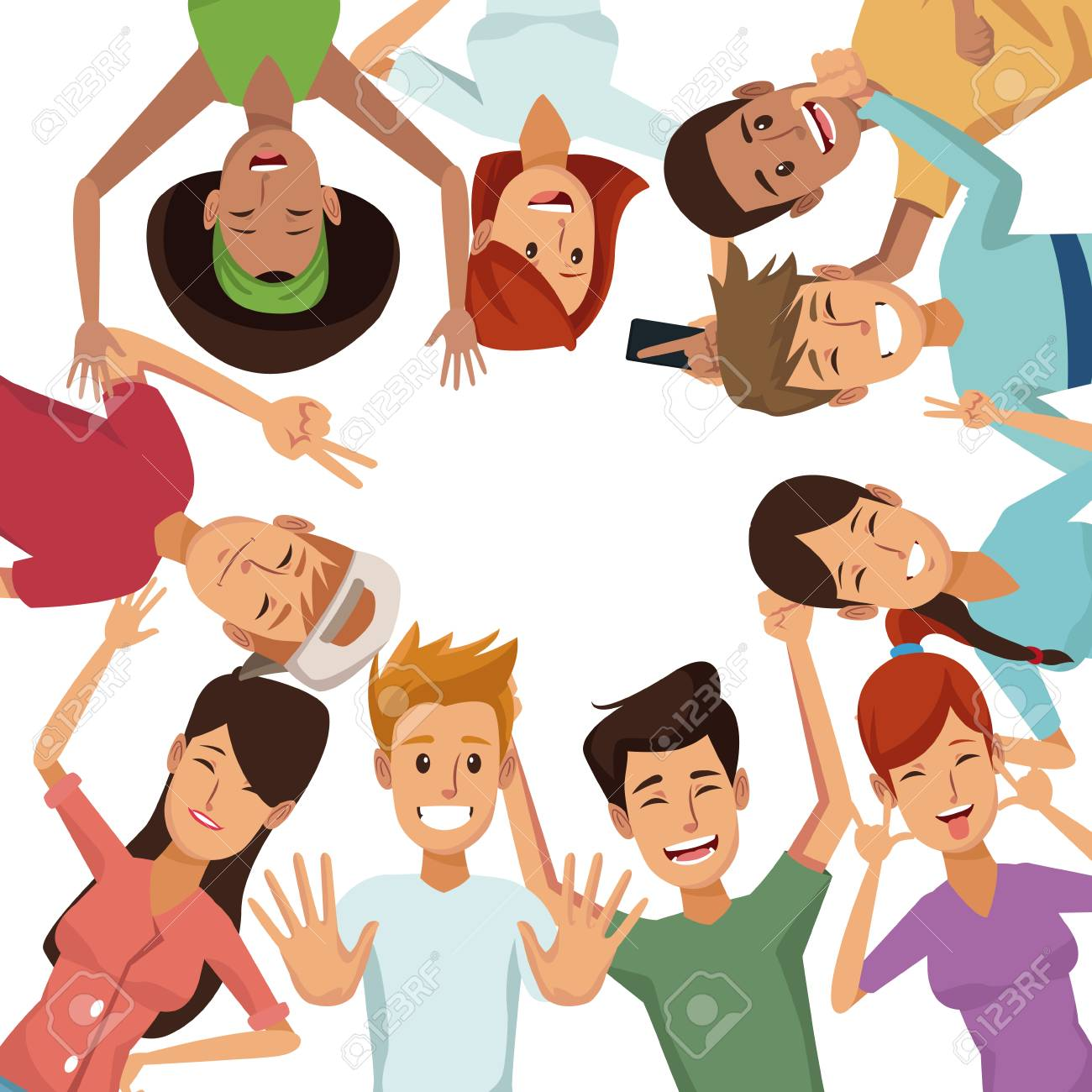 white background with colorful group of friends posing vector illustration - 82032946