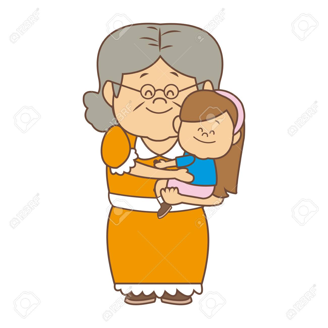 little girl and grandmother together family vector illustration - 82189826