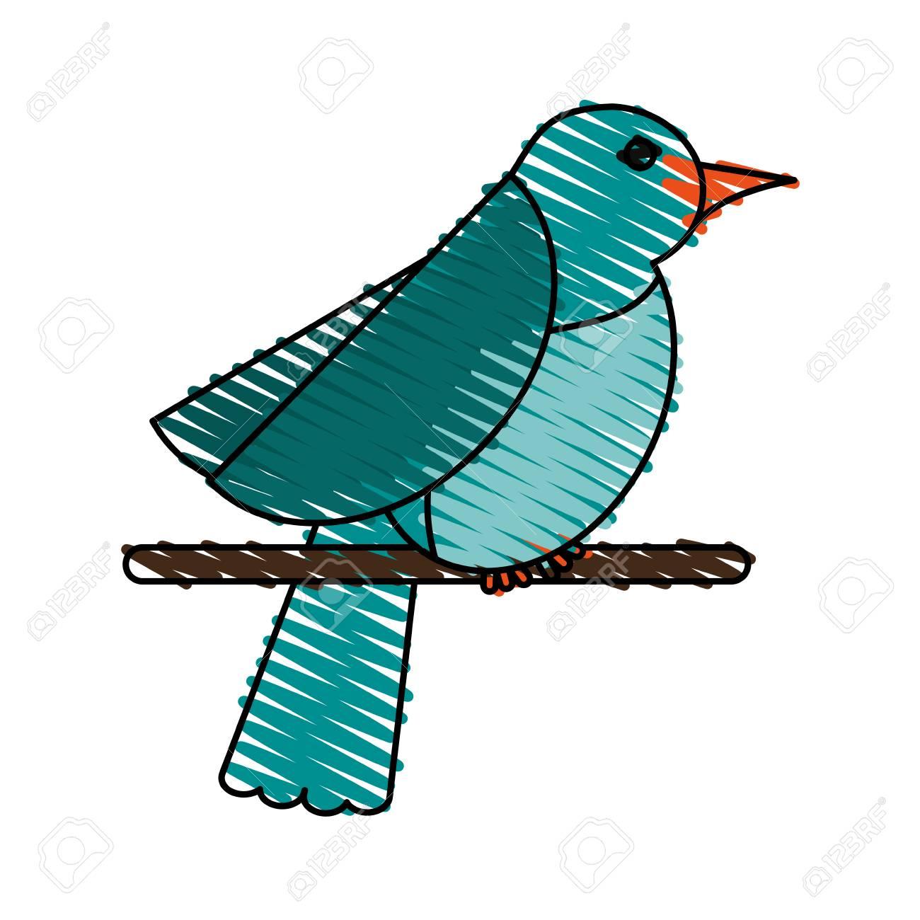 Blaues Vogel-Gekritzel Auf Weißem Hintergrund Vektor-Illustration ...