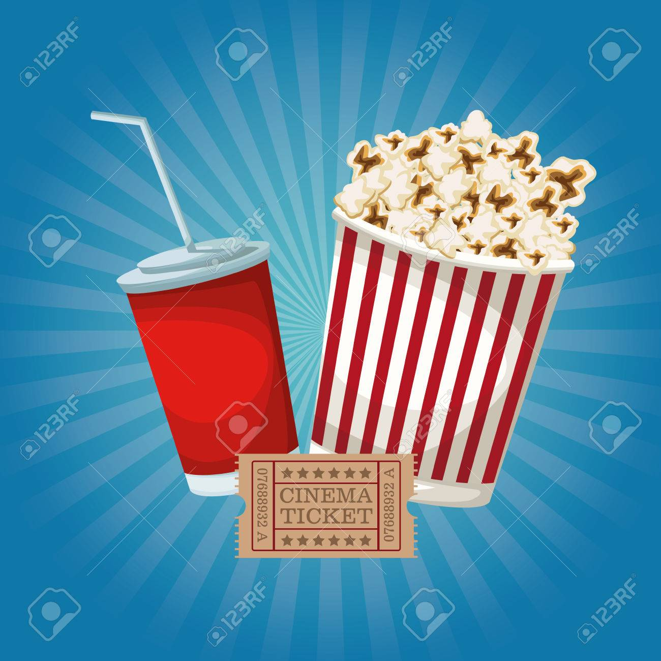 Color Background With Popcorn Pack And Soda Ticket Movie Vector