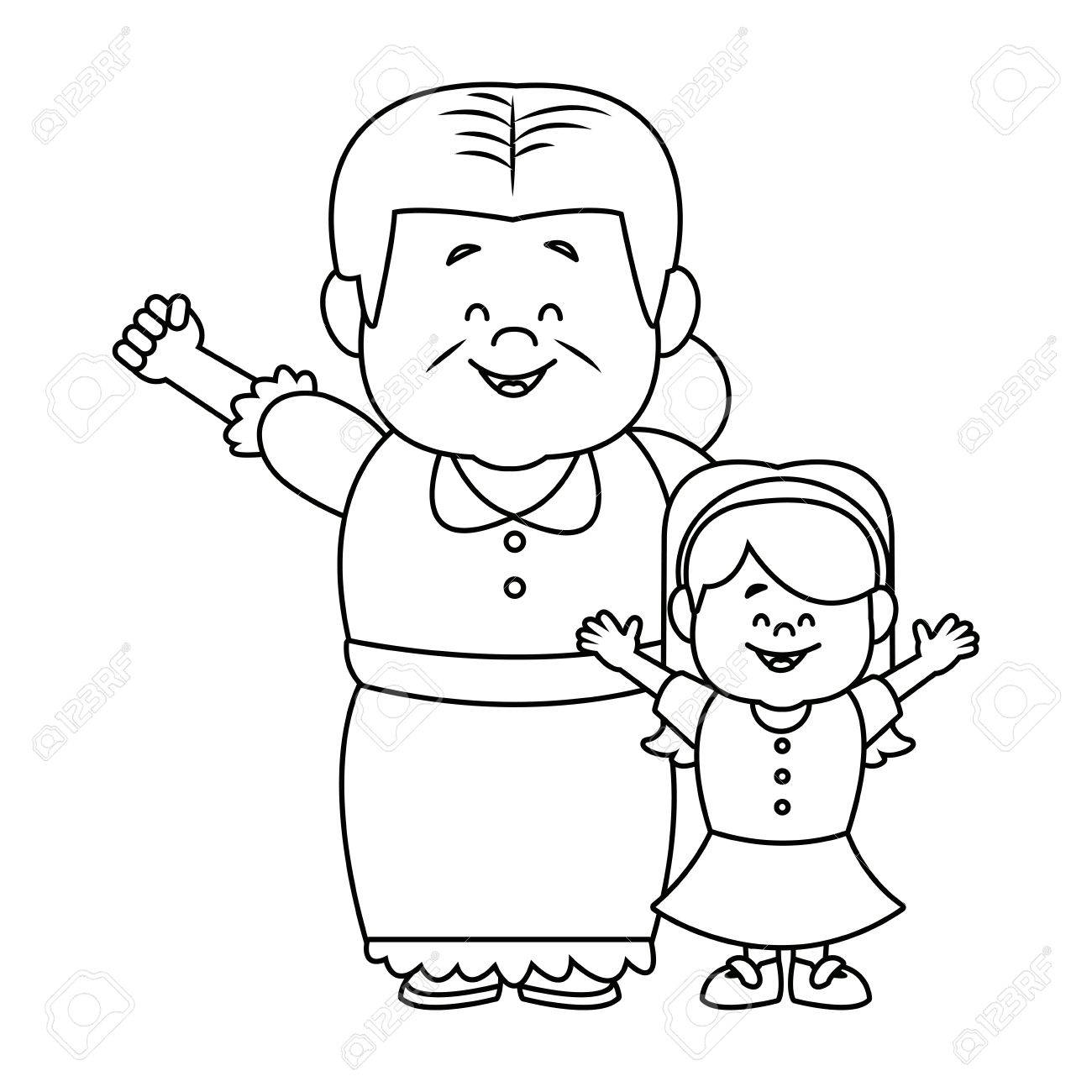 little girl and grandmother together family vector illustration - 82261991