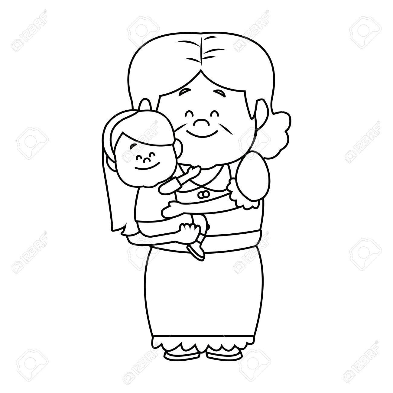 little girl and grandmother together family vector illustration - 82261988