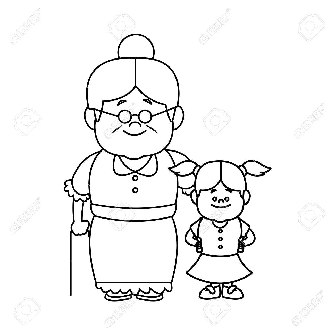 little girl and grandmother together family vector illustration - 82261996