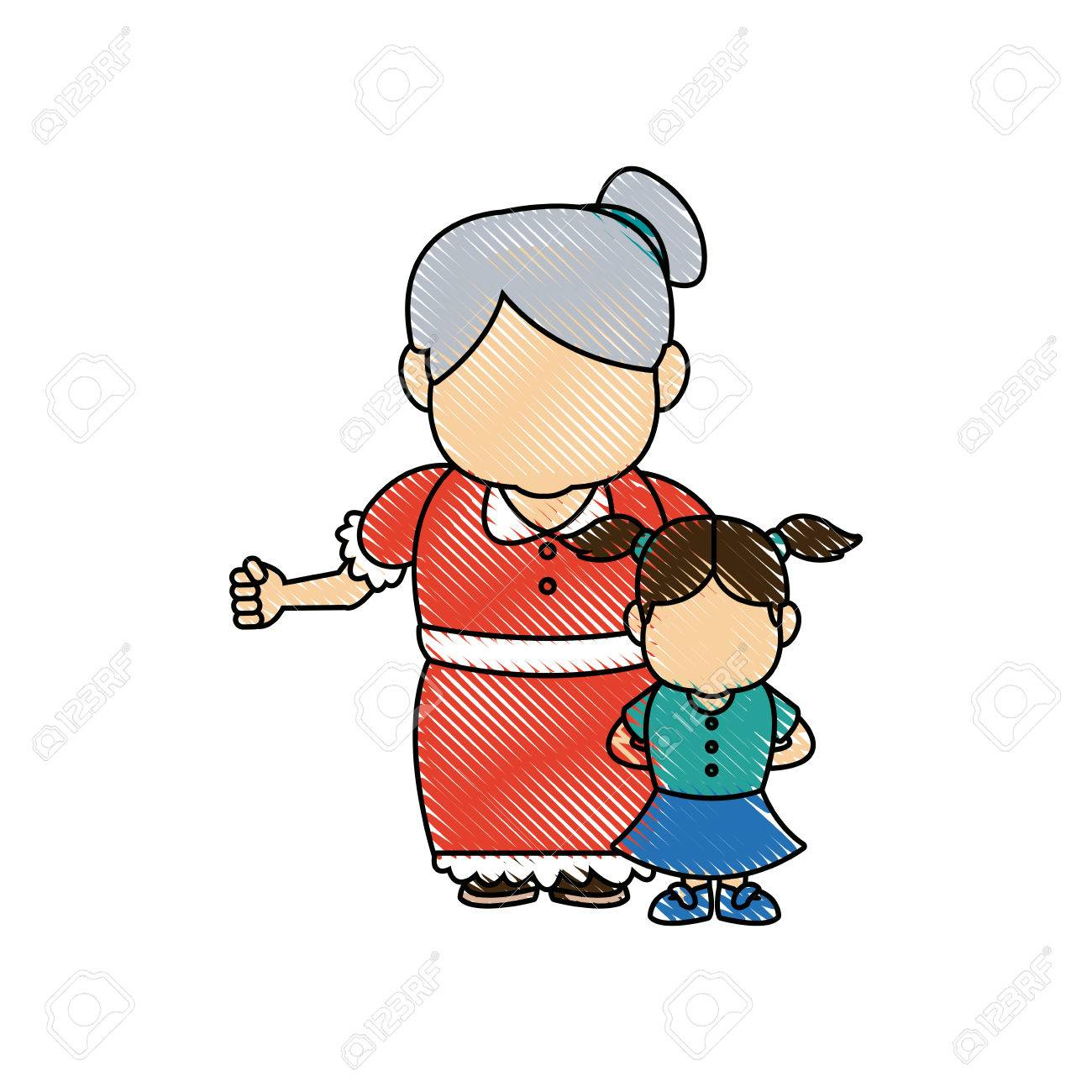 little girl and grandmother together family vector illustration - 82262301