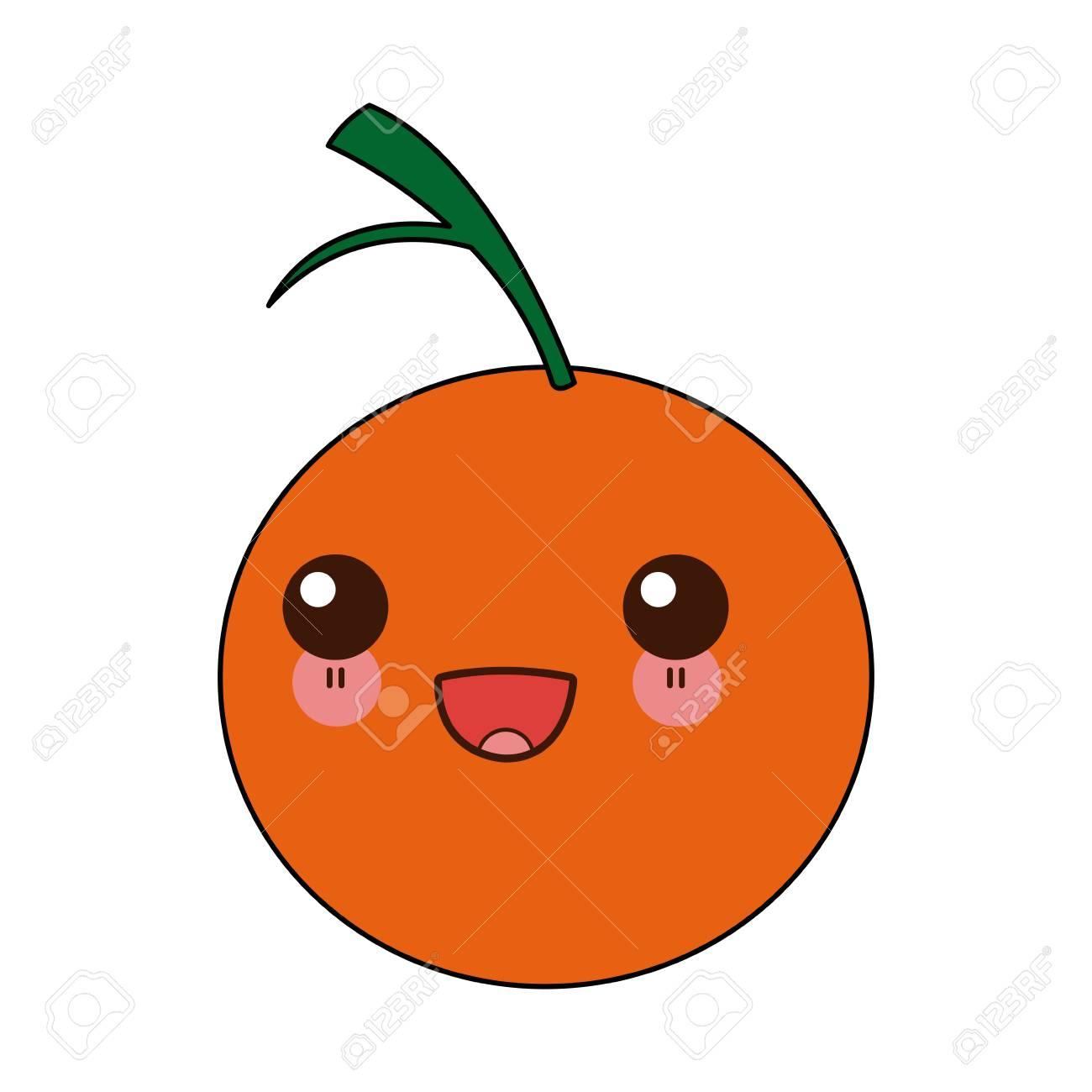 Ilustración De Vector De Dibujos Animados De Nutrición De Vitaminas De Fruta Naranja Cítrica