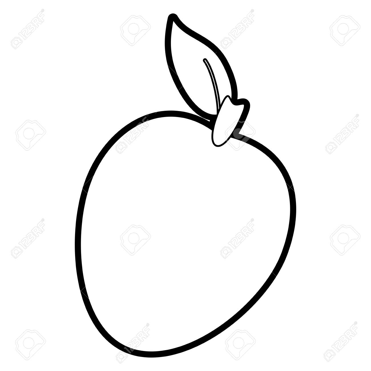 Flat Line Uncolored Mango Over White Background Vector Illustration ... for Clipart Mango Black And White  539wja