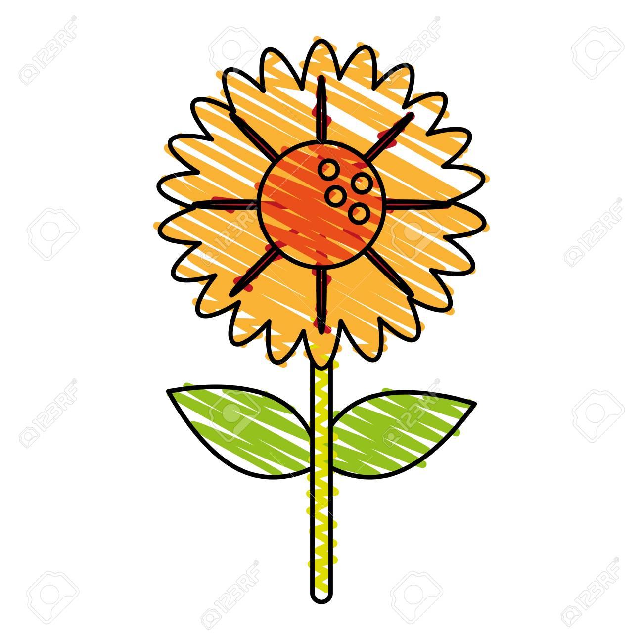 Single Yellow Flower Icon Image Vector Illustration Scrawl Royalty