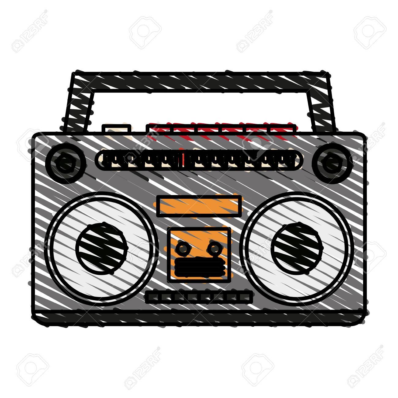 Radio De Colores Doodle Sobre Ilustración De Vector De Fondo Blanco ...