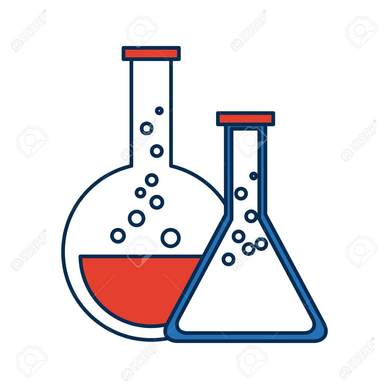 Test tube flask glass laboratory equipment school vector illustration