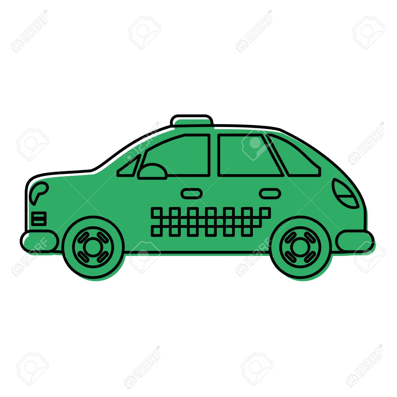 taxi or cab icon image vector illustration design green color