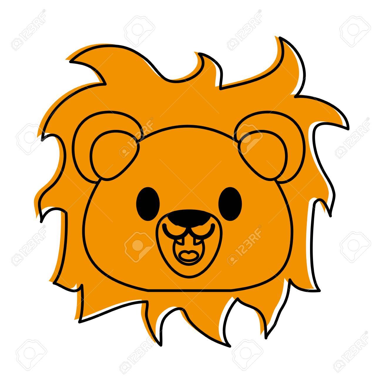 ライオンかわいい動物漫画アイコン画像ベクトル イラスト デザイン