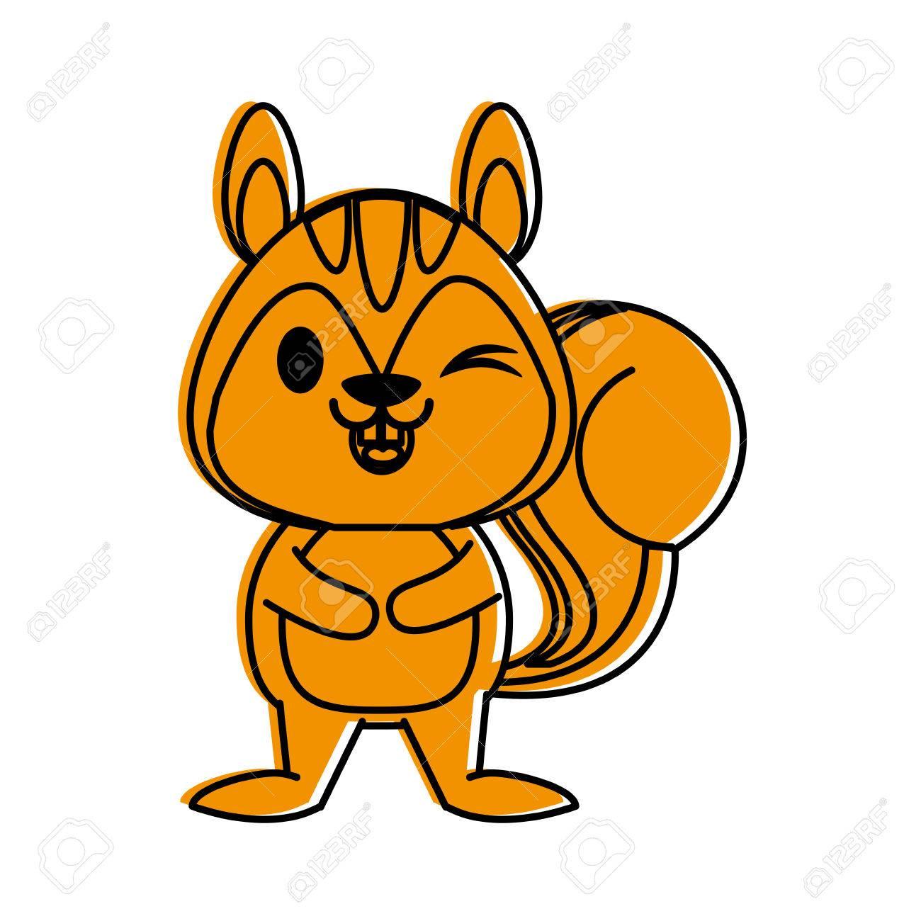 かわいい動物漫画アイコン画像ベクトル イラスト デザイン オレンジ色