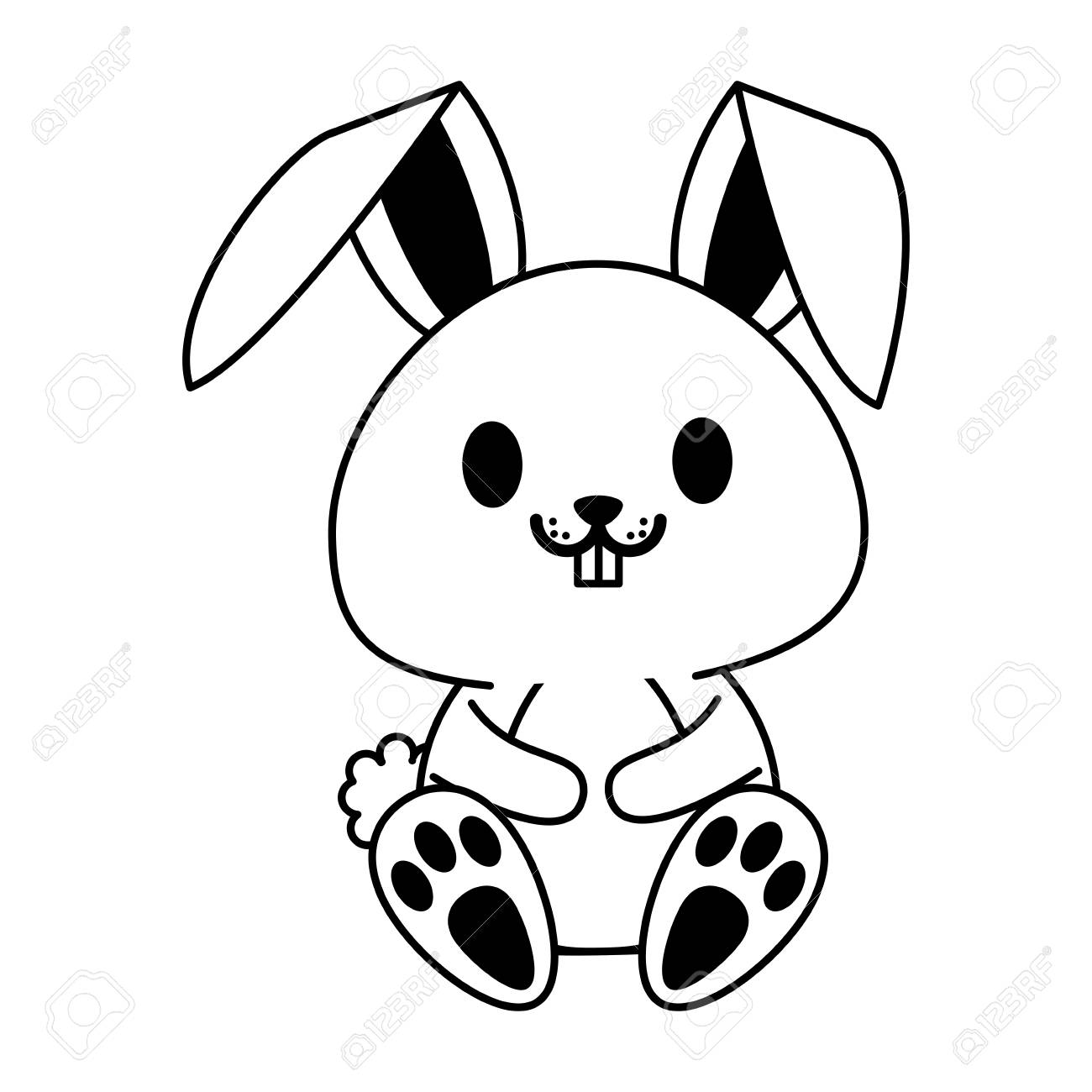 ウサギかウサギかわいい動物漫画アイコン画像ベクトル イラスト