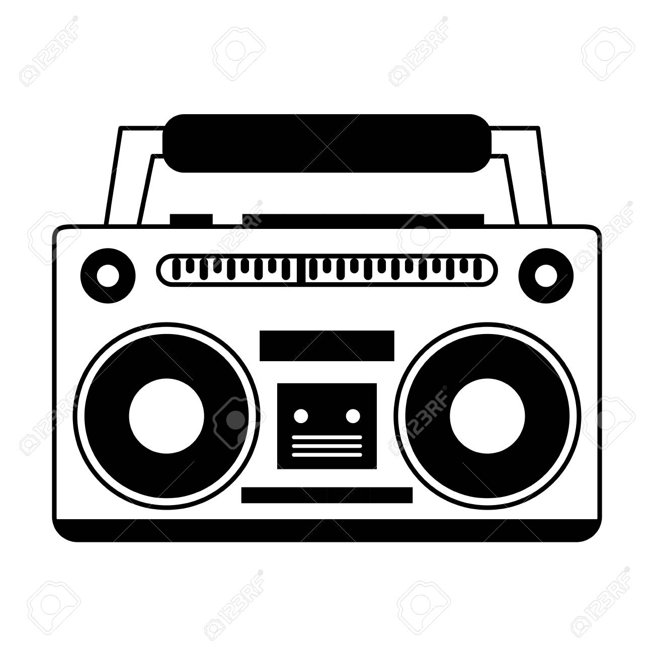 boombox icon image vector illustration design black and white rh 123rf com 80s boombox vector boombox vector icon