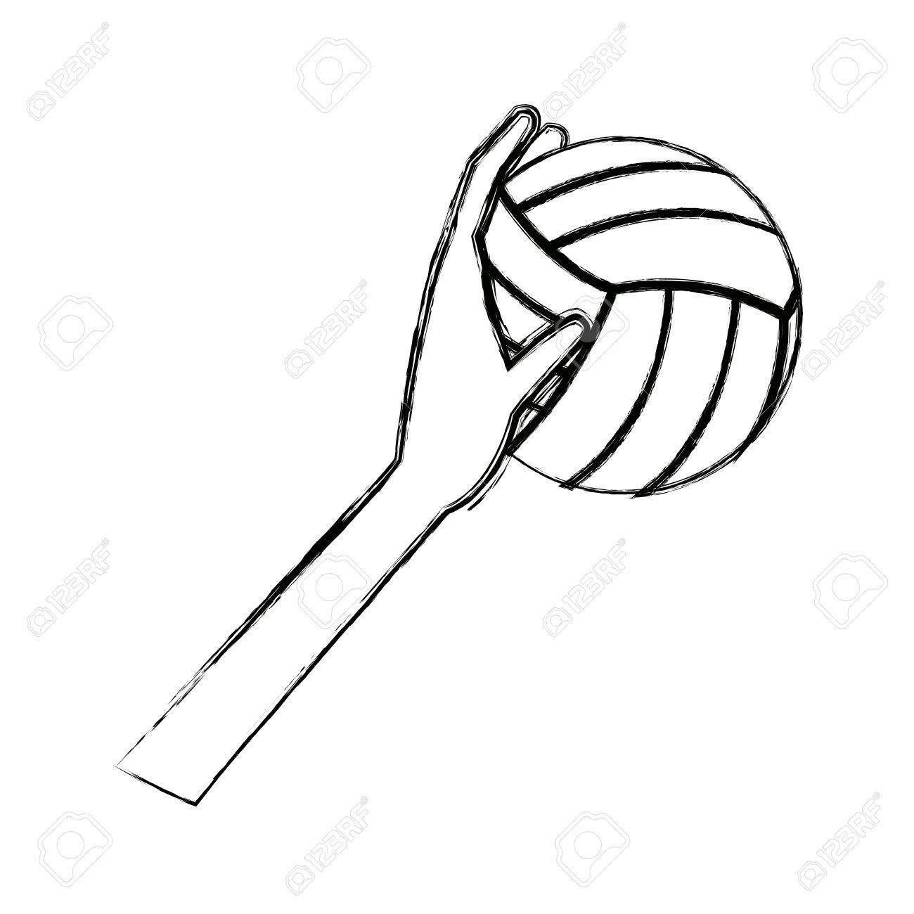Foto de archivo - Mano sosteniendo la ilustración de vector de campeón de  juego de pelota voleibol deporte 7aa239b0edf6