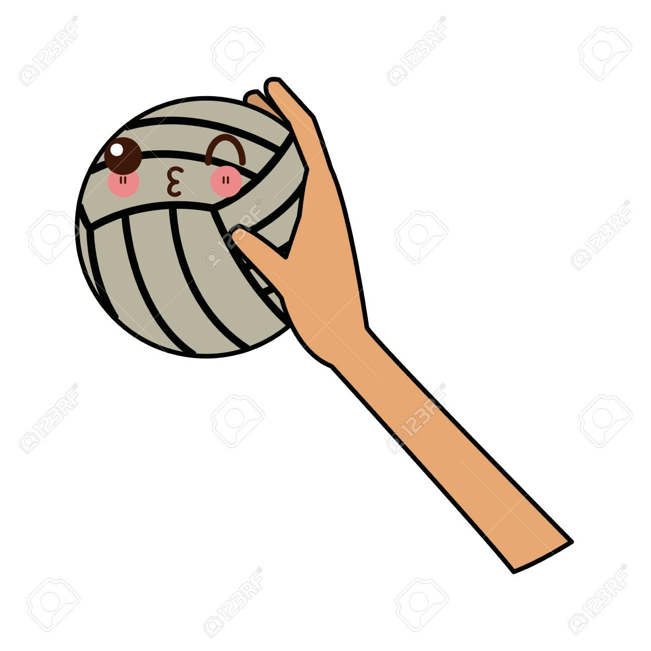 Kawaii Main Tenant Ballon De Volley Ball Sport Dessin Animé Illustration Vectorielle