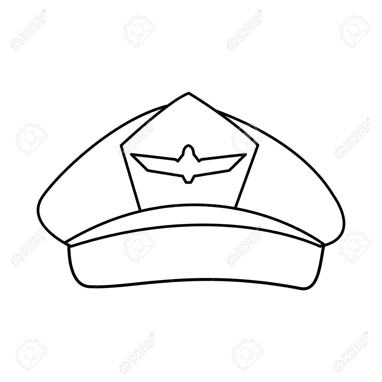 Airline Pilots Hat Aviator Cap With Insignia Vector Illustration Stock
