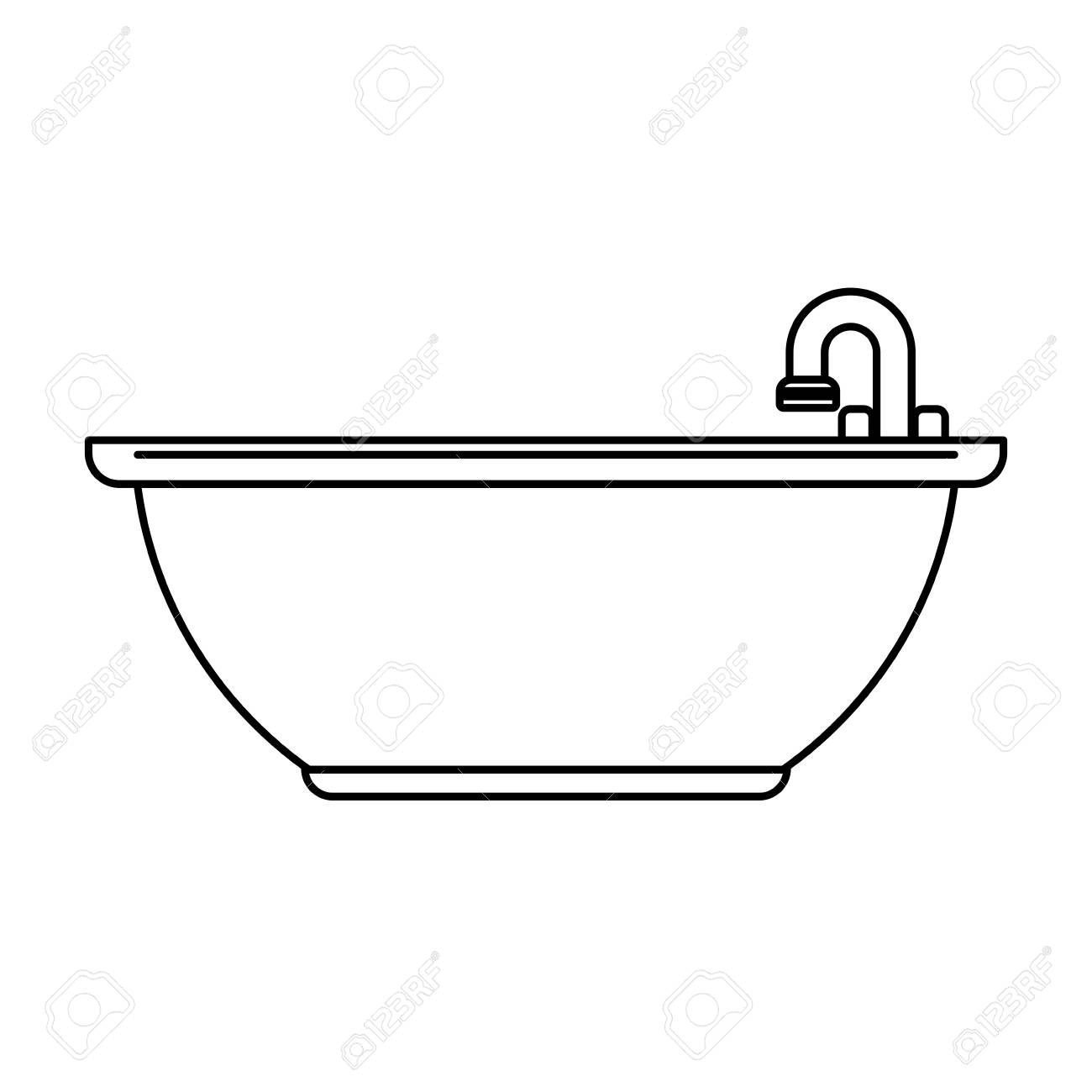 Bathtub Bathware Item Icon Image Vector Illustration Design ...