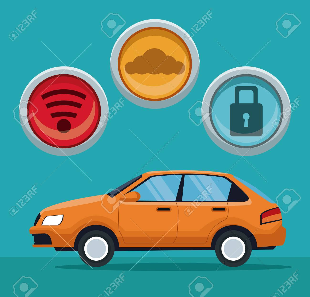 Color Background Of Classic Car Vehicle With Button Icons Vector Illustration Stock