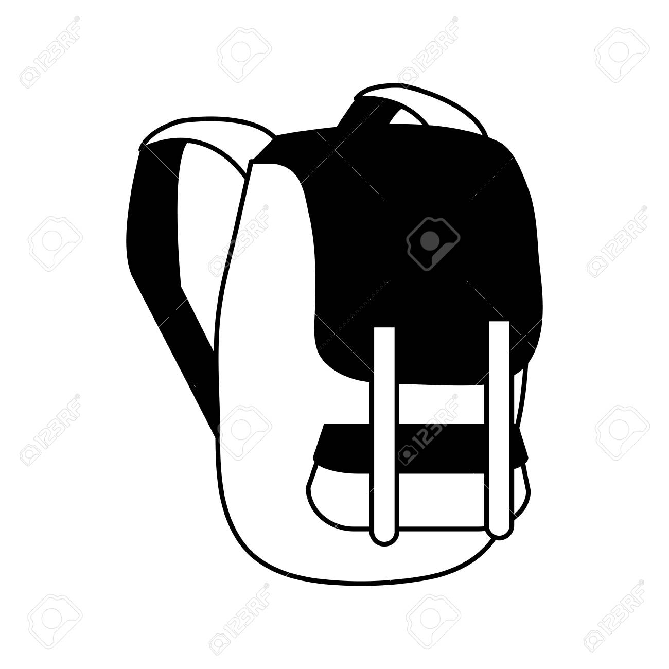 Travel Backpack Icon Image Vector Illustration Design Black And White Stock