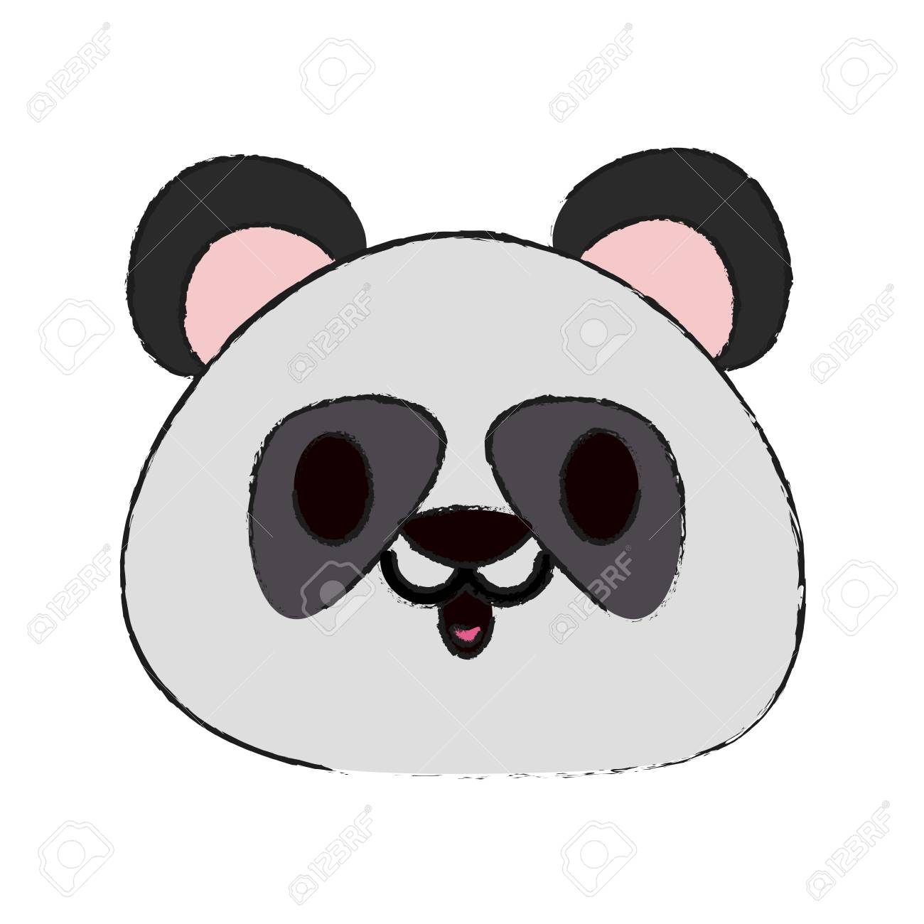 colorful panda doodle over white background vector illustration