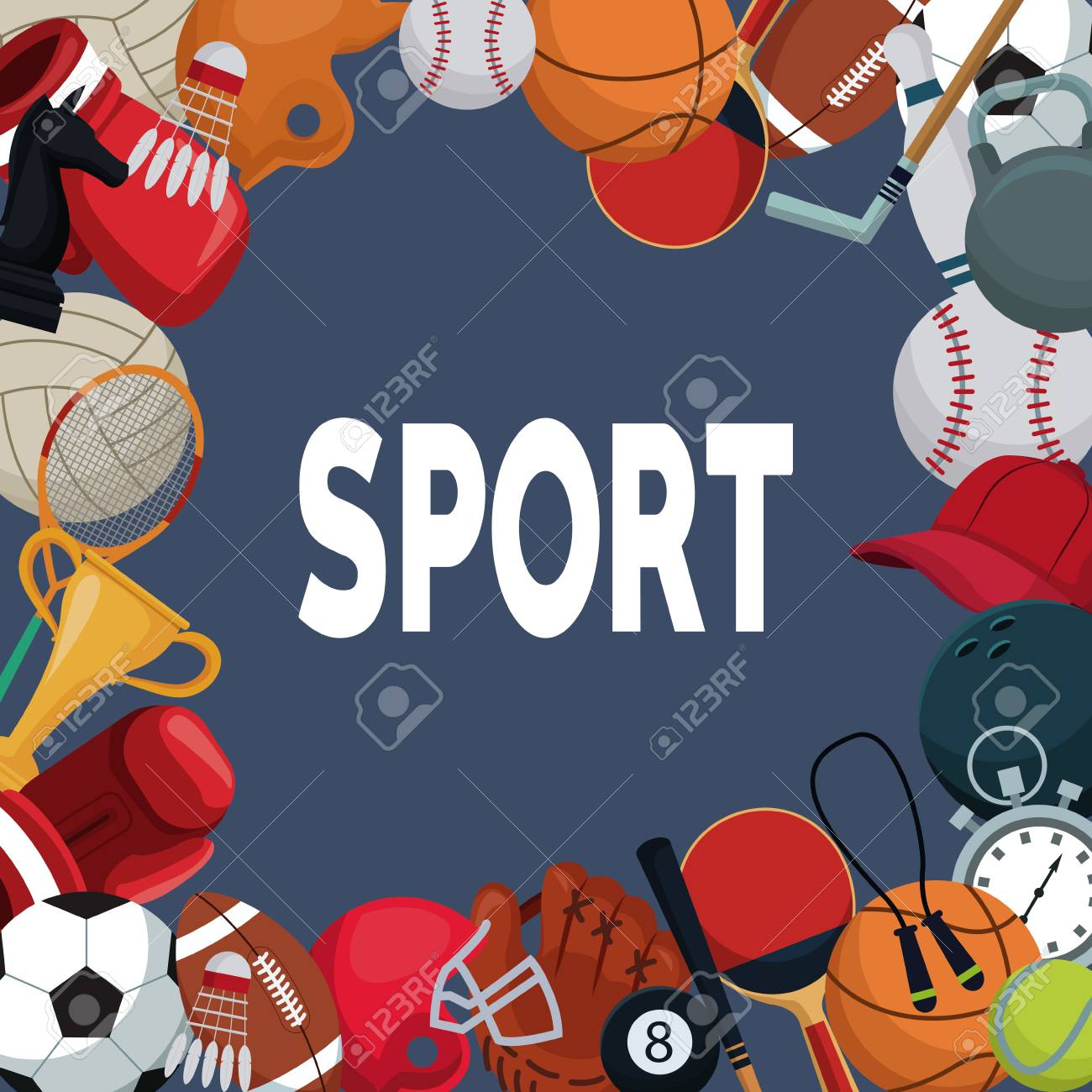 Color Background With Border Of Elements Sport Vector Illustration Royalty Free Cliparts Vectors And Stock Illustration Image 83616518