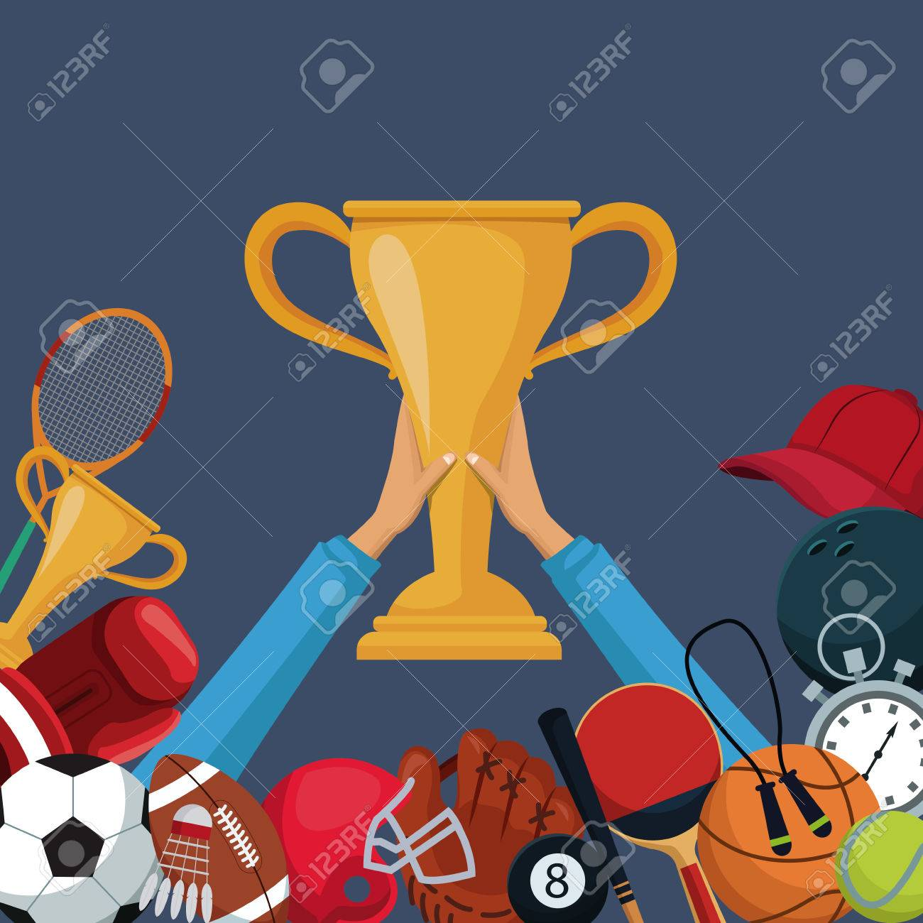 Color Background With Hands Holding Up A Golden Trophy Cup With Royalty Free Cliparts Vectors And Stock Illustration Image 83624028