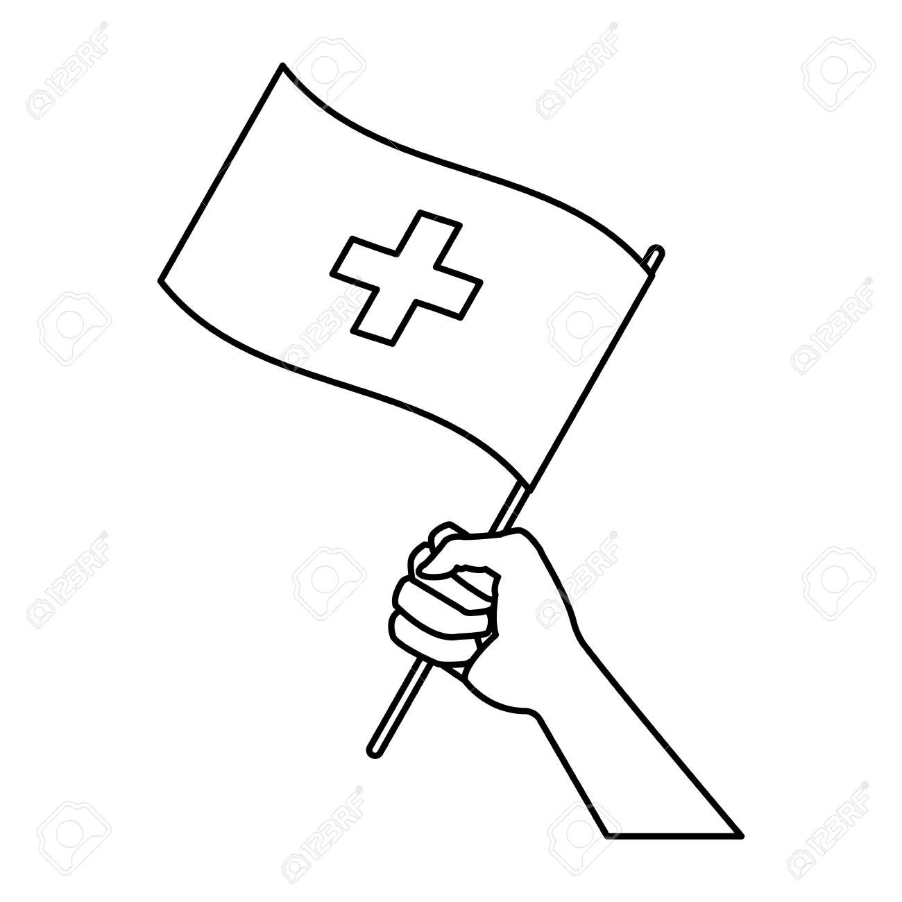 hand holding flag of switzerland symbol national vector illustration Switzerland Mountains hand holding flag of switzerland symbol national vector illustration stock vector 83817771