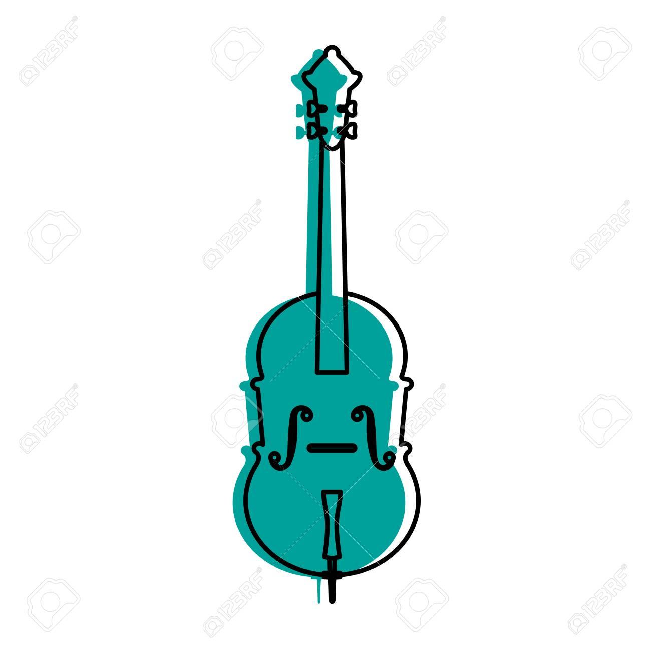 Cello Musical Instrument Icon Image Vector Illustration Design Blue Color Stock