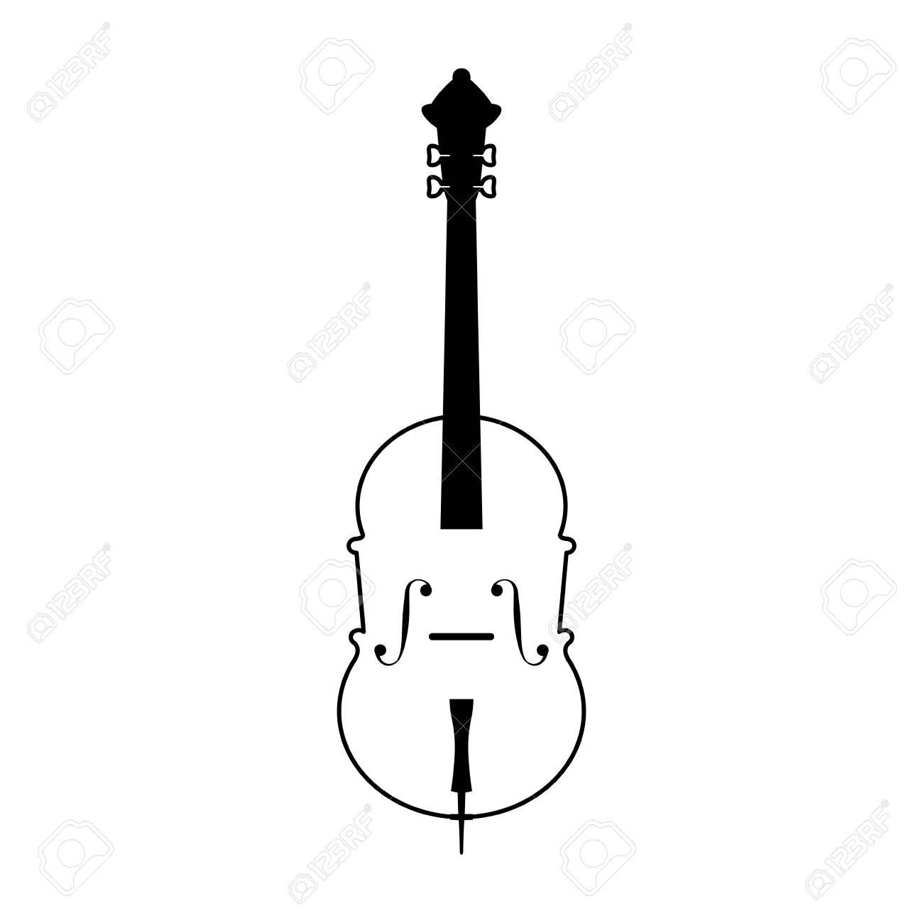 Cello Musical Instrument Icon Image Vector Illustration Design Black And White Stock