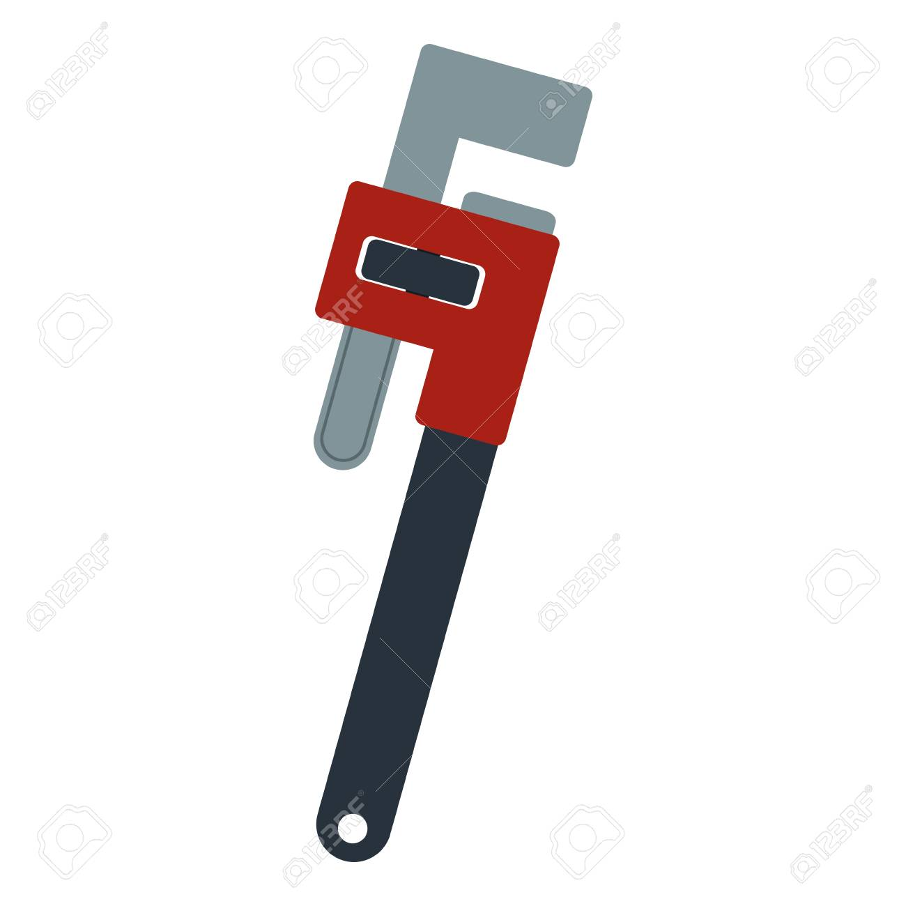 Adjustable Plumbing And Pipe Wrench Tool Repair Vector Illustration ...