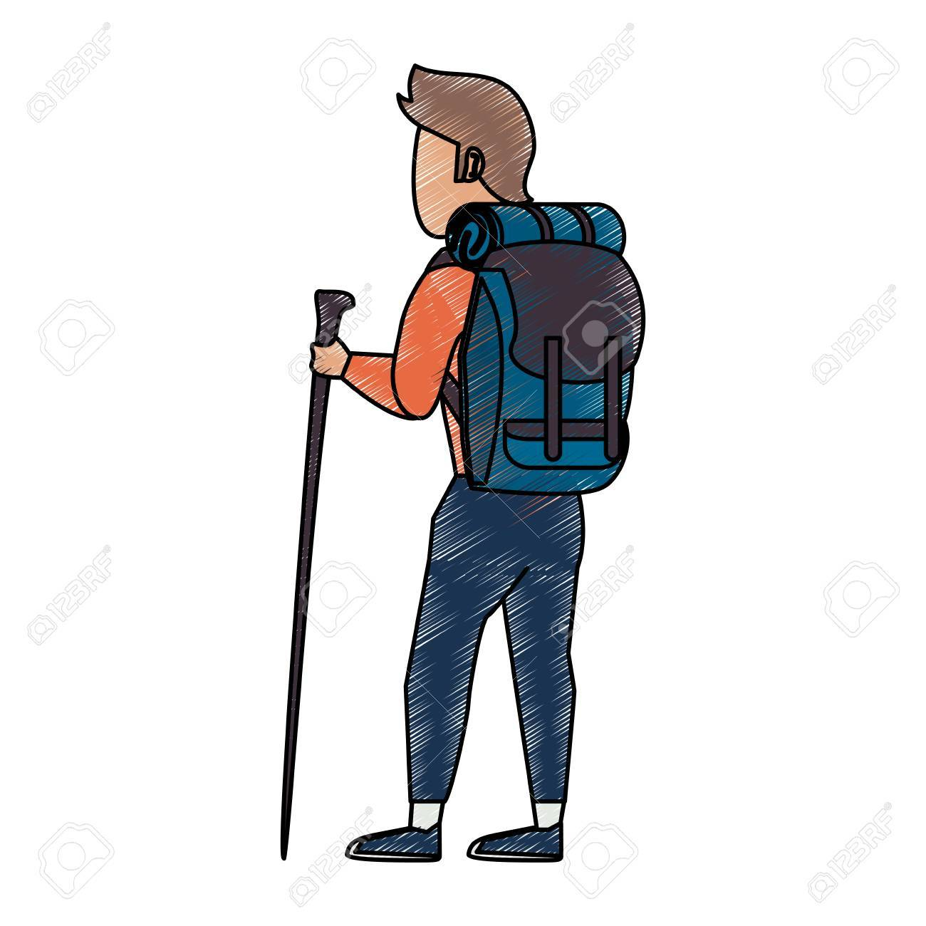 Colorful backpacker with trekking pole doodle over white background vector  illustration Stock Vector - 84162188 0d95a1cb2e