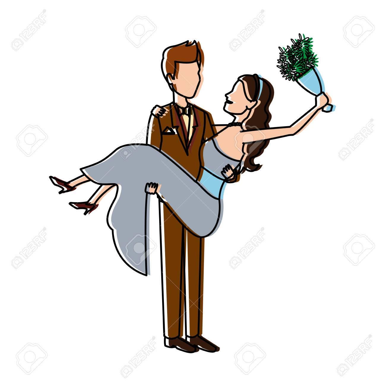 Bräutigam Trägt Braut Hält Sie In Seinen Armen Liebe Und Hochzeit ...