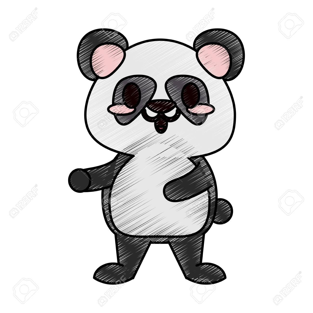 colorful panda bear doodle over white background vector illustration