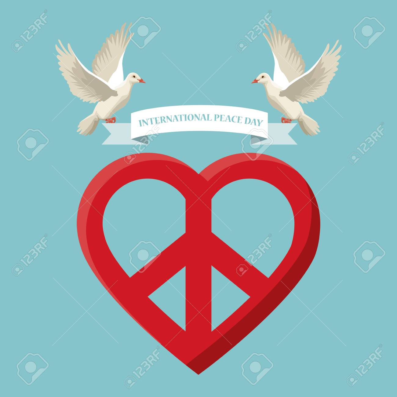 Color poster pair pigeons flying with label international peace color poster pair pigeons flying with label international peace day text and love heart shape symbol biocorpaavc Images