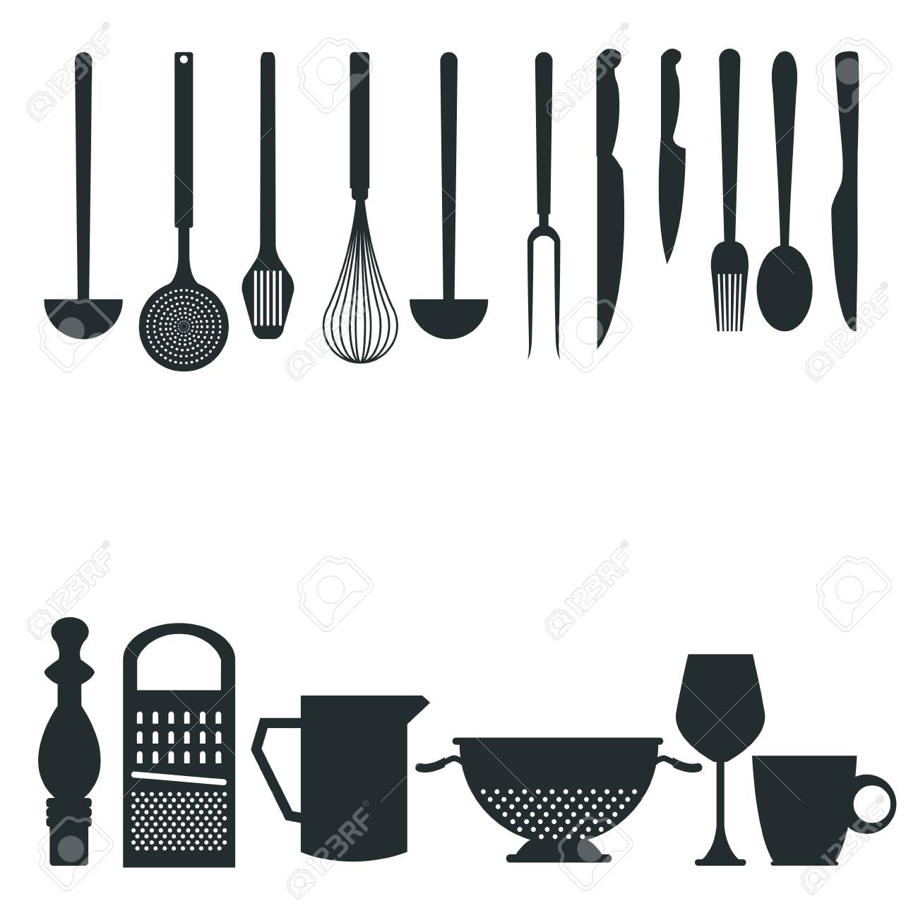 White Background With Monochrome Silhouette Different Utensils ...