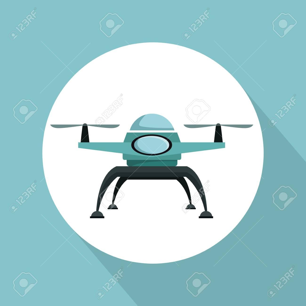 Fondo De Color Con Drone De Marco Circular Con Dos Ilustración De ...