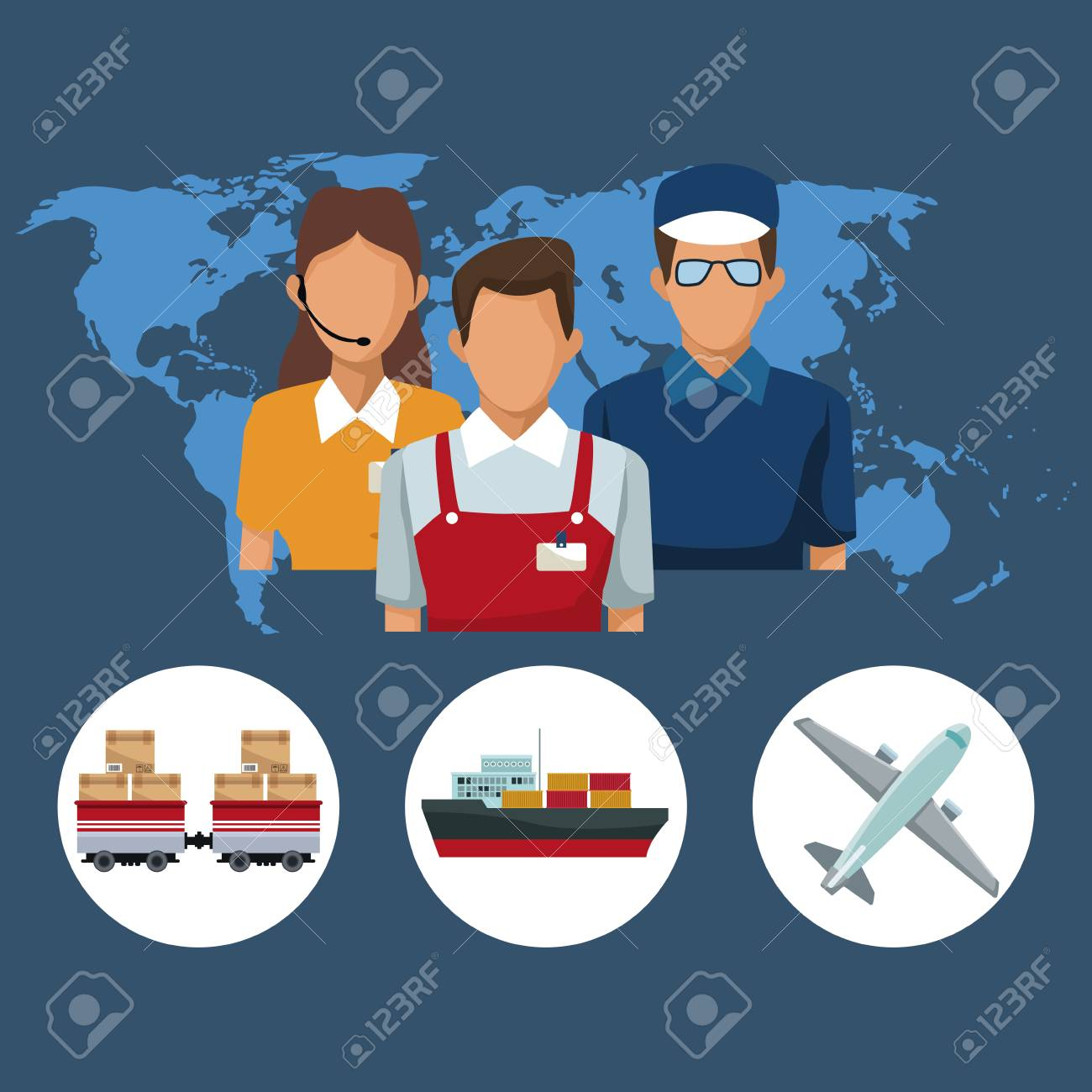Color silhouette world map background with icons people logistics color silhouette world map background with icons people logistics and transport vehicles vector illustration stock vector gumiabroncs Image collections