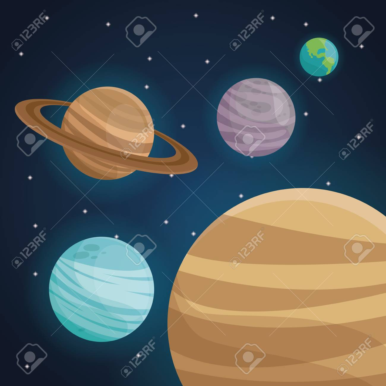 Color Space Landscape Background With View Planets In Solar System Vector Illustration Stock