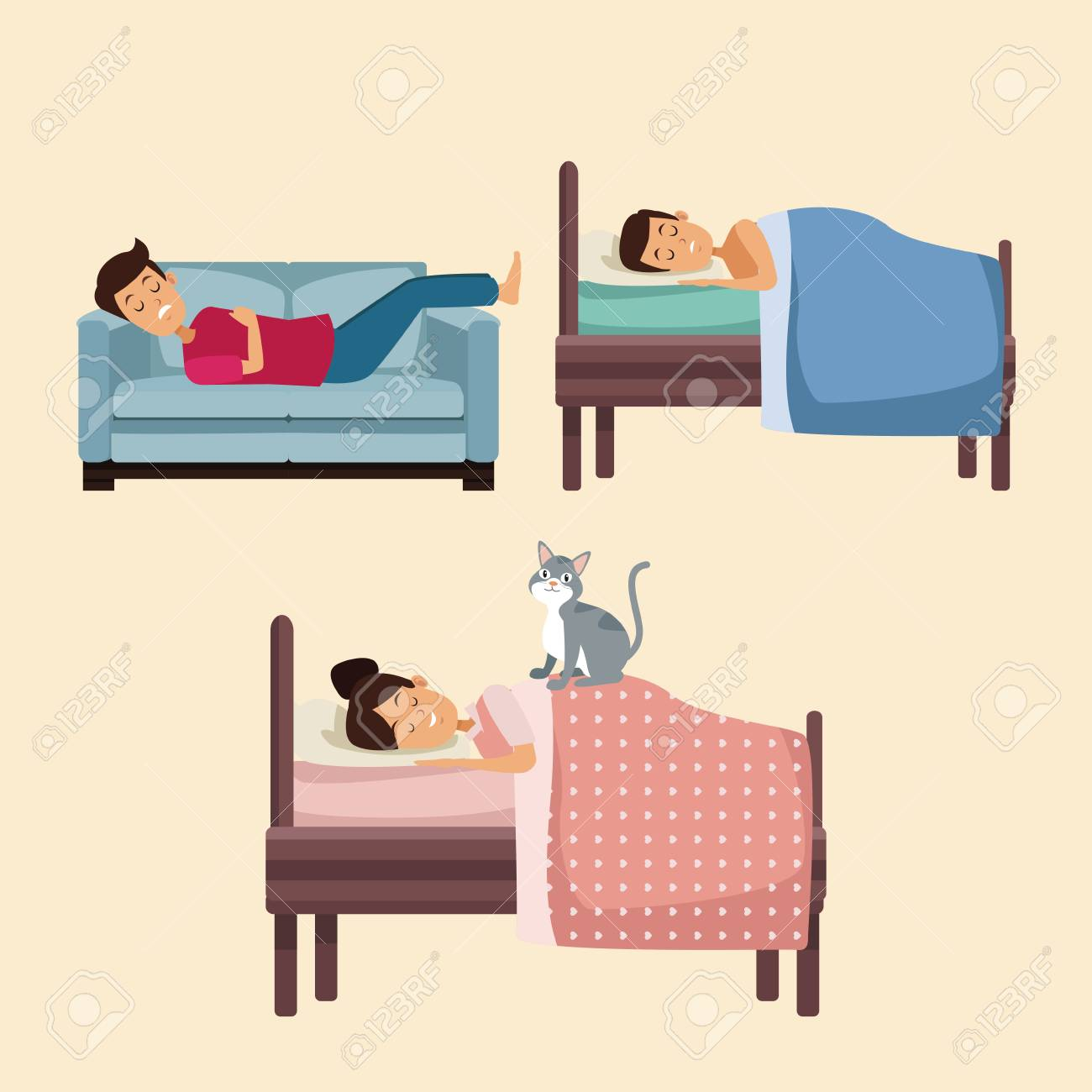 Excellent Colorful Set Scene People Sleep In Bed And Sofa Vector Illustration Machost Co Dining Chair Design Ideas Machostcouk
