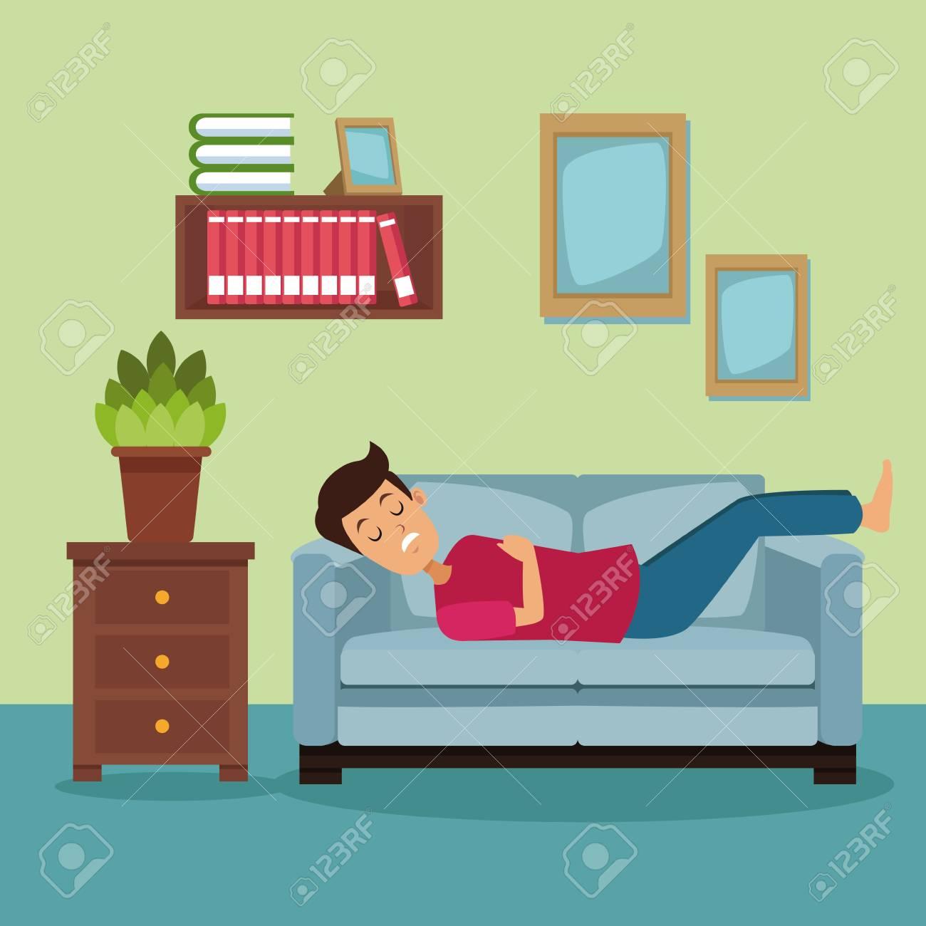 Colorful Scene Man Sleep In Sofa On The Living Room Vector ...