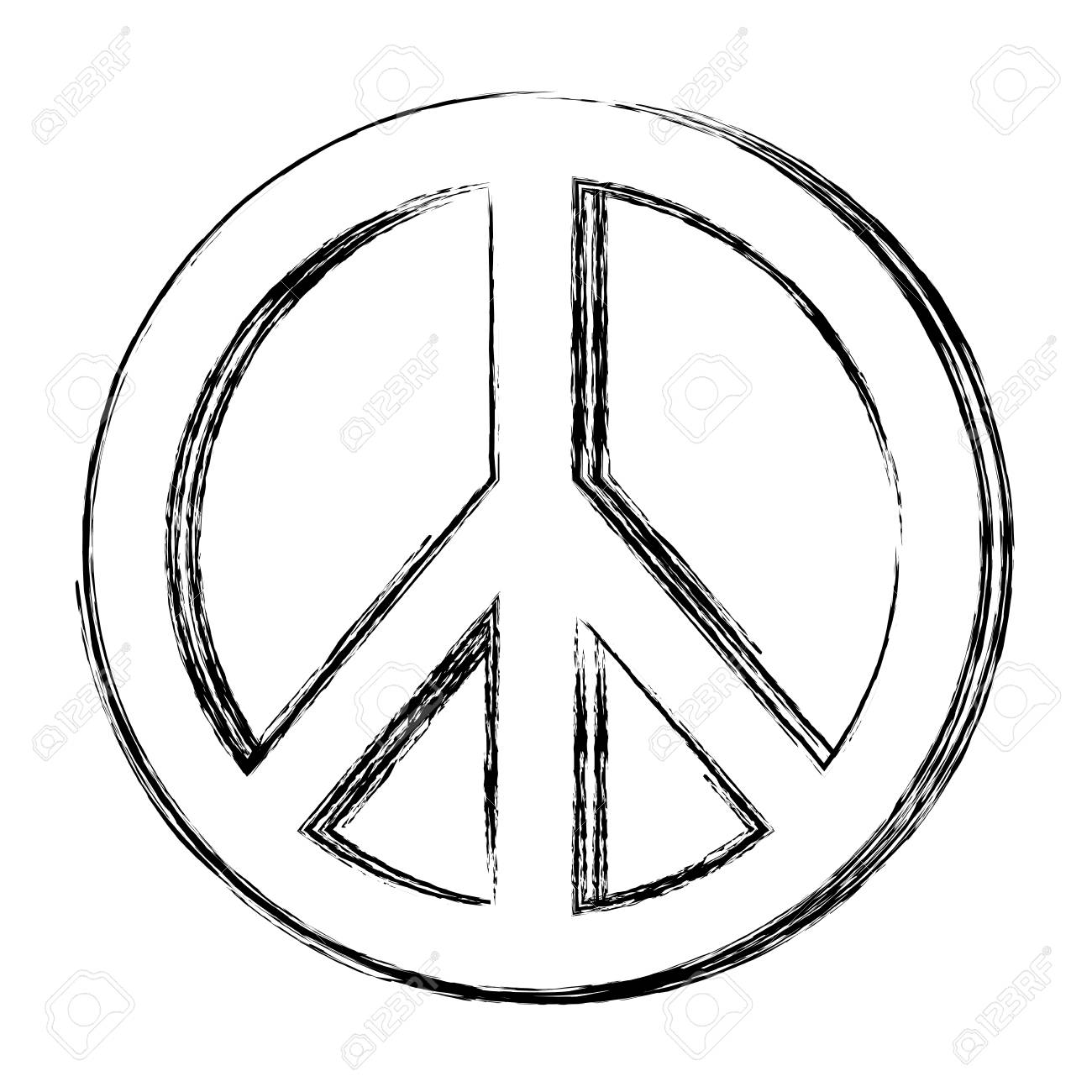 Hippie Peace Love Circle Button Element Symbol Royalty Free Cliparts