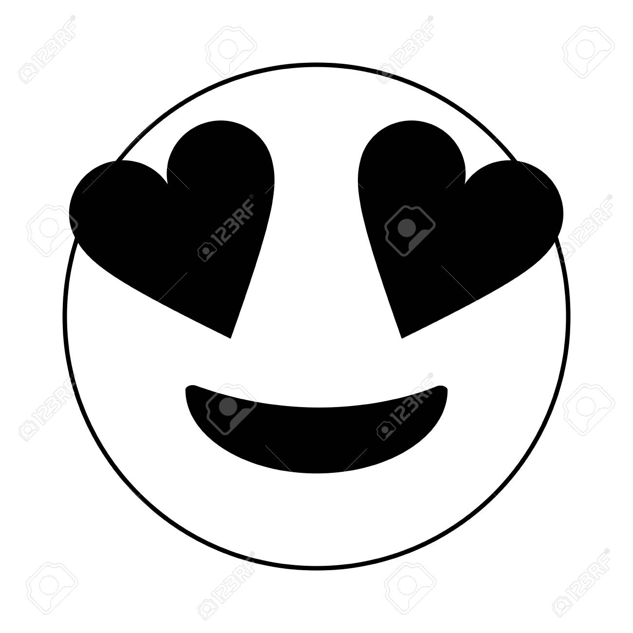 Black and white in love emoji over white background vector illustration stock vector 84680658