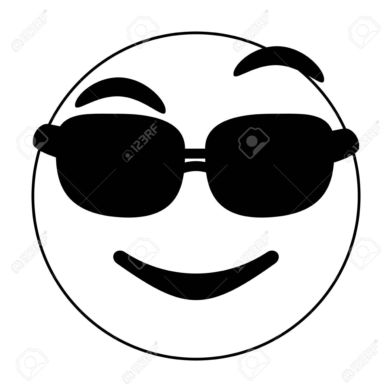 Black and white cool emoji over white background vector illustration stock vector 84680662