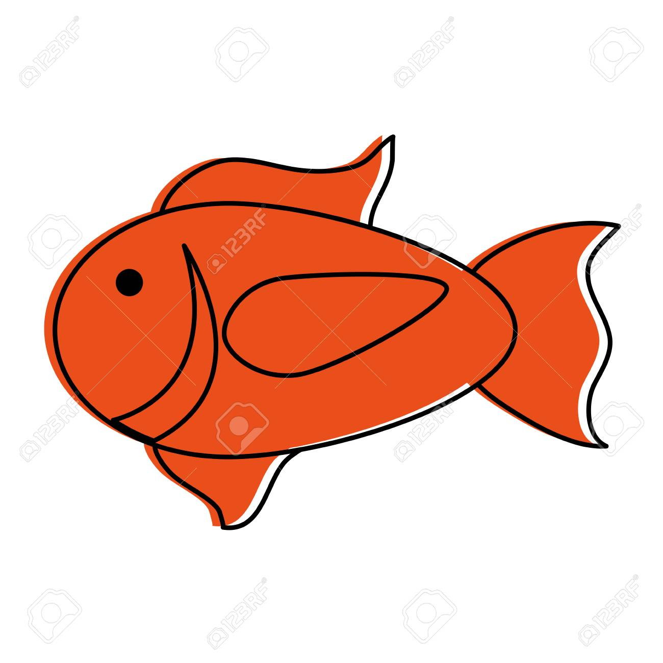 Cartoon Fish Icon Image Vector Illustration Design Orange Color ...