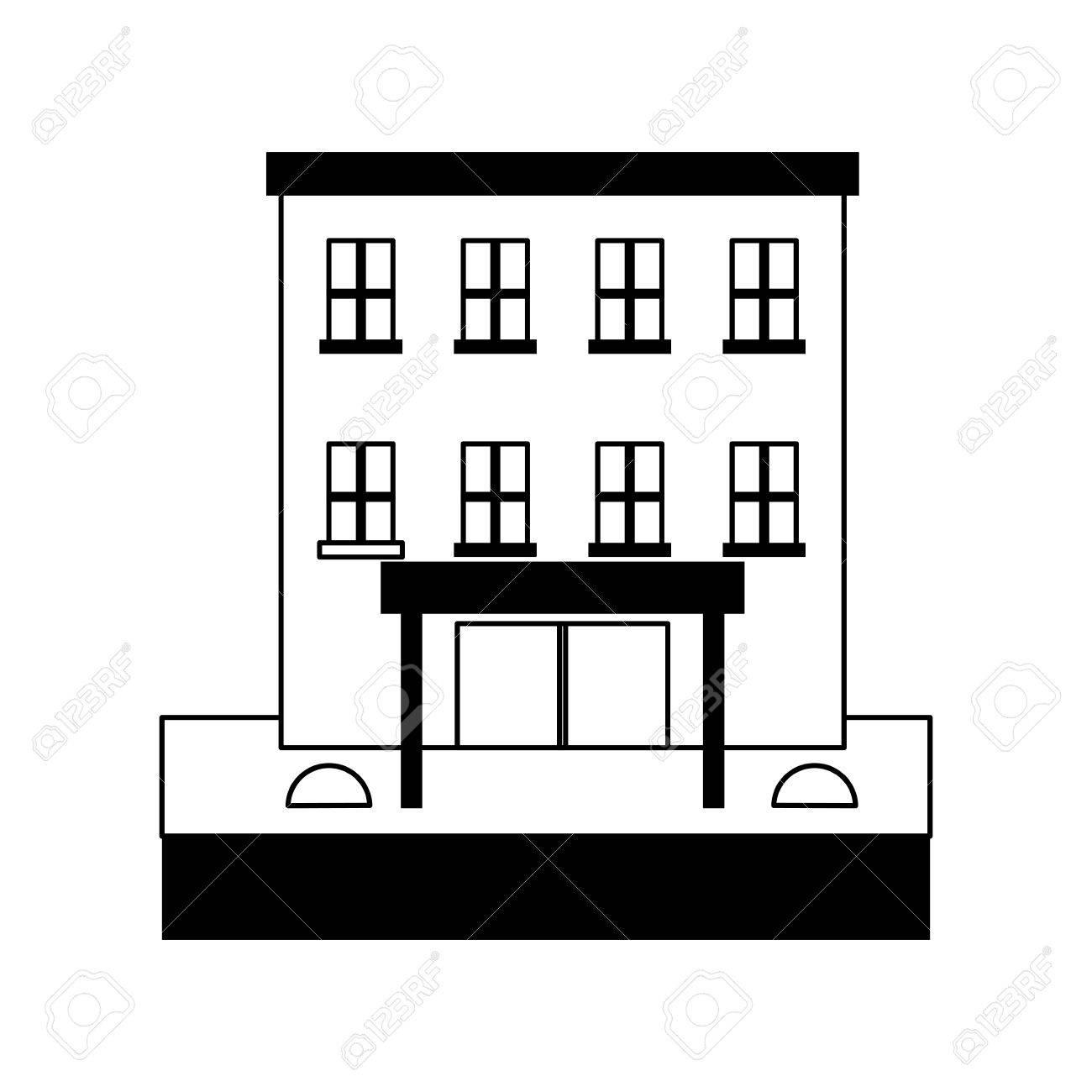 Big City Building Icon Image Vector Illustration Design Black And White Stock