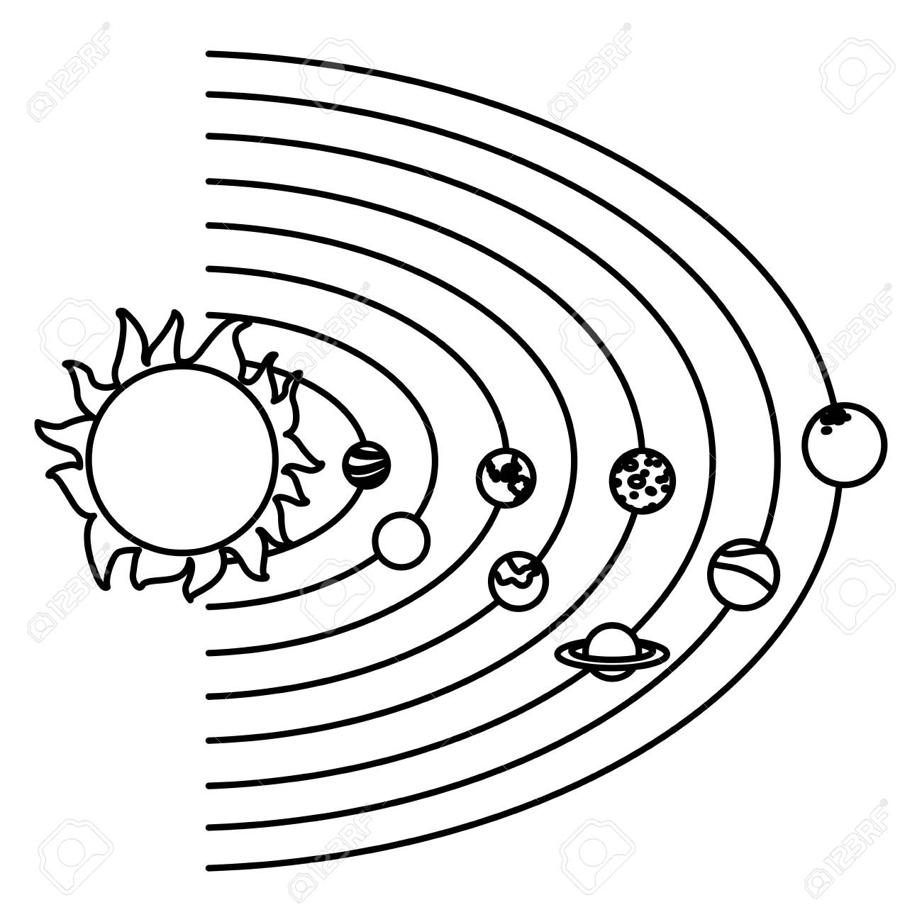 Solar System With Planets And Sun Orbit Science Astronomy Space Vector Illustration Stock